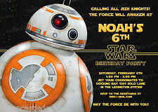 20 BB8 Star Wars The Force Awakens Birthday Party Invitations Printed D13