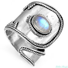 Sterling Silver 925 Ring Solid Rainbow Moonstone Gemstone Genuine Band Adjustabl