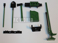 RC Scale TOOL ACCESSORIES Shovel-Axe-Winch-Fuel -Jack -For Roof Rack Camouflage