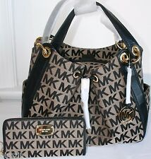 2PC MICHAEL KORS MK LOGO LUDLOW BLACK SHOULDER BAG SATCHEL & JET SET WALLET*NWT*