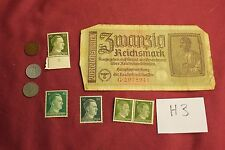 "WW2 German Third Reich ""Hitler Stamps"" & Nazi banknote & Coins..(lot H3)"