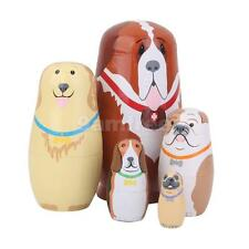 5 Hand Painted Dogs Puppy Wooden Russian Nesting Dolls Matryoshka Kids Gift