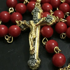 Gold Real RED CORAL JADE BEADS Vatican rosary jesus cross Catholic necklace