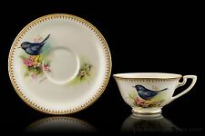 Royal Worcester Blackbird Painted Cabinet Cup and Saucer by E. Townsend C. 1945