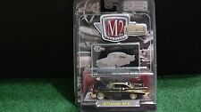 M2 1957 Chevrolet Bel-Air Black Chase Auto Thentics 1/64 Diecast Car 57 On Card
