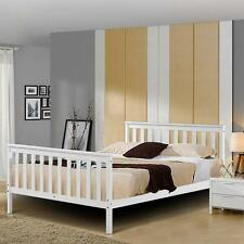 White Wooden Wood Sleigh Bed Frame Solid Pine Country Shaker Double King Size uk
