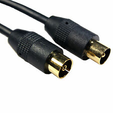 2M GOLD Aerial Cable Extension - Male/Plug to Female/Socket TV Coaxial/Coax Lead