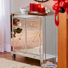 Modern Mirrored Cabinet Chest Bedside Night Stand Drawers Storage Accent