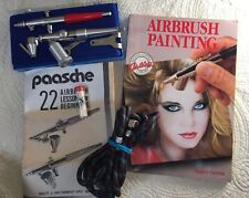 Paasche Set Of 2 Type VL & FP Airbrushes With Accessories & Painting Book