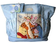 Diaper Bag Large Pooh Piglet Tigger Eeyore Fall Leaves Blue NWT