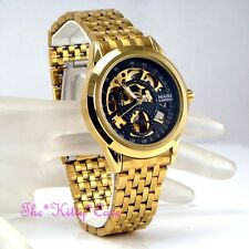 Automatic Mechanical Steampunk Skeleton 2tone Gold Gents Ladies Men Unisex Watch