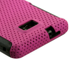 Straight Talk Samsung Galaxy II 2 S959G MESH Hybrid Rubber Skin Case Cover Pink