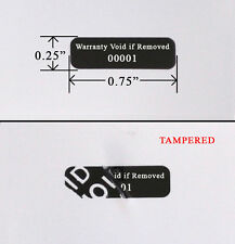 500 Security Label Seal Sticker Black Tamper Evident VOID wii .75 x .25 Printed