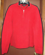Express Brand Men  Sz L  Casual Pullover Sweater Jacket Red w/Black accents &zip