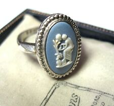 Vintage Hallmarked Sterling SILVER Wedgwood Cameo Jewellery RING Size M 1/2 6.5