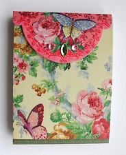 *PUNCH STUDIO Mini 75 Sheet Glitter Pocket Note Pad ~ Floral ~ Roses ~ Butterfly