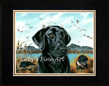 """Matted Black Lab Art Print Duck Hunting Dog """"One More Year"""" by Roby Baer PSA"""