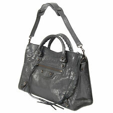 BALENCIAGA GRIS FOSSILE CLASSIC CITY BAG  WITH RUSTIC BRASS HARDWARE - $1980.00