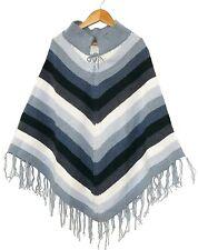 Alpaka Poncho:blau grau weiß,Gr.S, Inka Alpaca Wolle Peru,Ethno Puno Bolivien