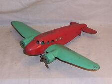 Vintage Wyandotte Toy Airplane Pressed Steel Metal Red & Green All Original