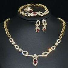 V461 S. Crystal 18K GP Red CZ Earrings Bracelet Necklace Set Ring Size 8