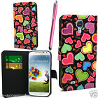 SLIM MULTI HEARTS WALLET PU LEATHER CASE COVER POUCH FOR NEW MOBILE PHONES