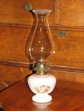 Antique Small Oil Lamp Milk Glass Embossed Angel Pink Green Beaded Chimney 12""