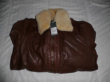 RJR.John Rocha Designer tan borg leather aviator jacket RRP: £260.00