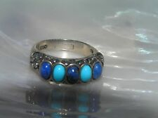 Estate 925 Hallmarked Sterling w Alternating Turquoise & Lapis Lazuli Band Ring