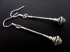 A Pair Of Long Tibetan Silver Earrings With 925 Solid Silver Hooks. New.