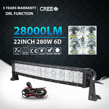 """6D 22Inch 280W CREE Curved Led Light Bar Spot Flood Offroad Driving Fog Lamp 24"""""""
