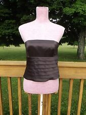 Kay Unger Silk Strapless Ruffle Top Corset Blouse Bustier Sz 6 Chocolate Brown