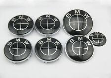 7 Pcs Carbon Fiber i Emblem Badge Hood Trunk Hub Wheel Caps  For BMW Black Car