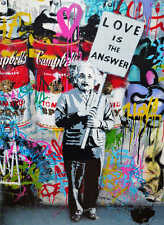 """Mr Brainwash Love is The Answer HUGE Abstract Oil Painting on Canvas 28x36"""""""