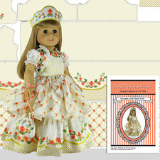 "18"" Doll Clothes Kit, Satin Coral Rose Princess Outfit by Tea Time Fabric Panels"