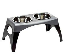 "Bergan Elevated Dog Pet Bowl Dish Feeder Black Gray Large 11"" H x 24"" W"