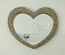 """Rose Heart Champagne Silver Shabby Chic Shaped Wall Mirror 43"""" x 36"""" V Large"""