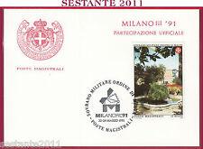 ITALIA MAXIMUM MAXI CARD SOVRANO MILITARE ORDINE MALTA 1991 MILANOFIL '91 C426