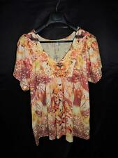 One World 2X Orange Gold Floral Shirt Short Sleeve V Neck Draped Woman 2Xl