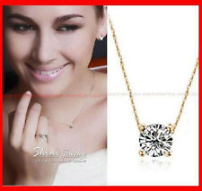 18K GOLD FILLED ROUND 1.5CT SOLITAIRE DIAMOND SOLID NECKLACE PENDANT SWAROVSKI