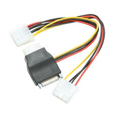 8 Inch SATA 15 pin male to three IDE 4 pin molex female cable adapter