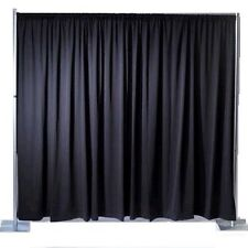 Black Pleated Backdrop For Stage Curtain Drape 7m x 2.6m