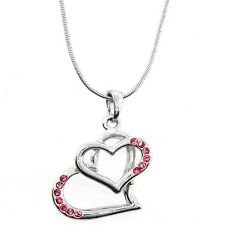 "Beautiful Silver Color Twin Heart Shape Pendant with Pink Crystals and 16"" Chain"