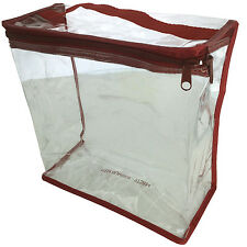 Clear tote bag zipper NFL stadium Approved Top Handle Red 9 x 9 x 4.25