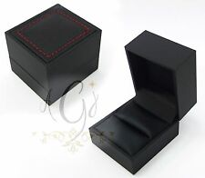 Luxury Black Leatherette Leather Like with Red Stitch Ring Box Box USA Seller
