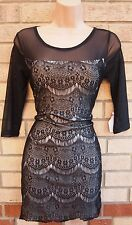 CUTIE BLACK LACE WHITE SLIP BODYCON MESH PARTY EVENING TUBE RARE DRESS M 12