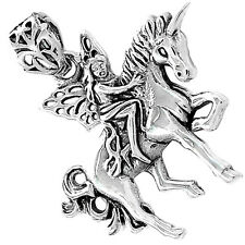 Fairy Riding Horse 925 Sterling Silver Pendant Plain Design Jewelry SPJ2172