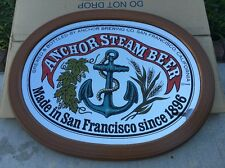 Anchor Steam Mirror Bar Sign Wood Frame BRAND NEW