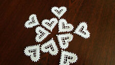 Iron on/Sew on White, Guipure Lace,Applique, Trimmings,Wedding-Heart Motifs x 10