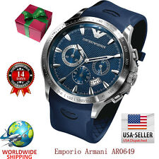 100% Authentic Emporio Armani Blue Dial Blue Rubber Strap Men's Watch AR0649